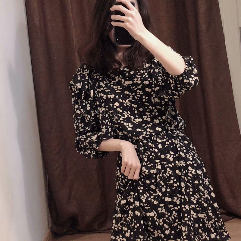Fashion women's dress wholesale lotus-trimmed floral print dress round neck NHAM200192