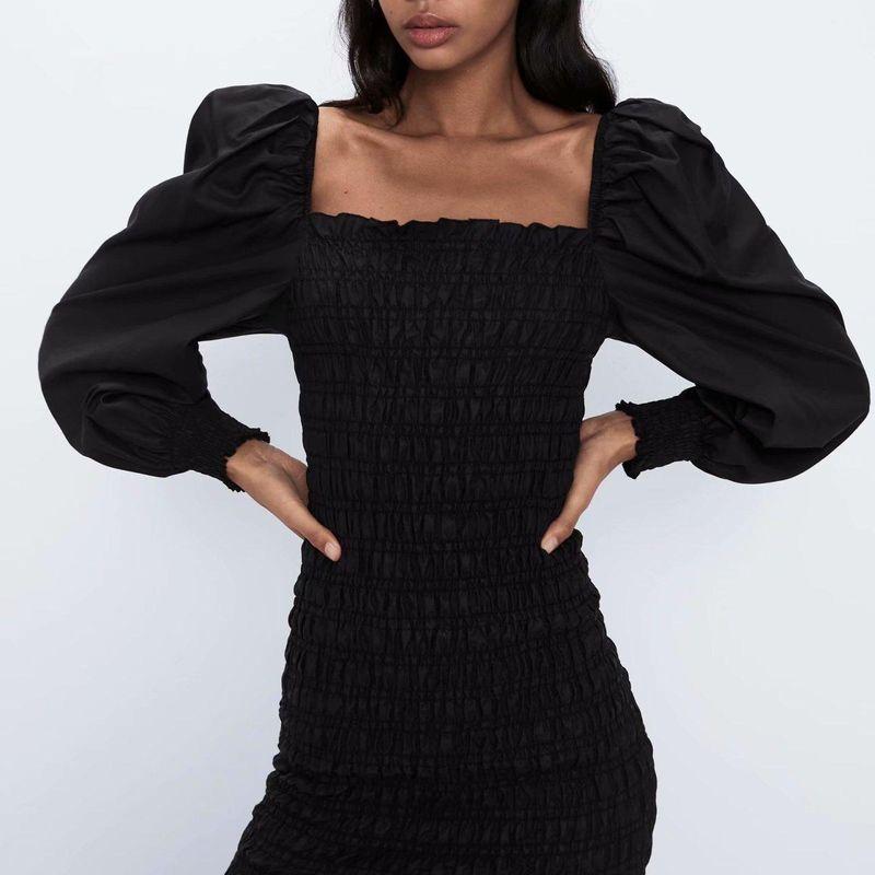 Fashion women's dress wholesale Spring Puff Sleeve Stretch Retro Long Sleeve Dress NHAM200193