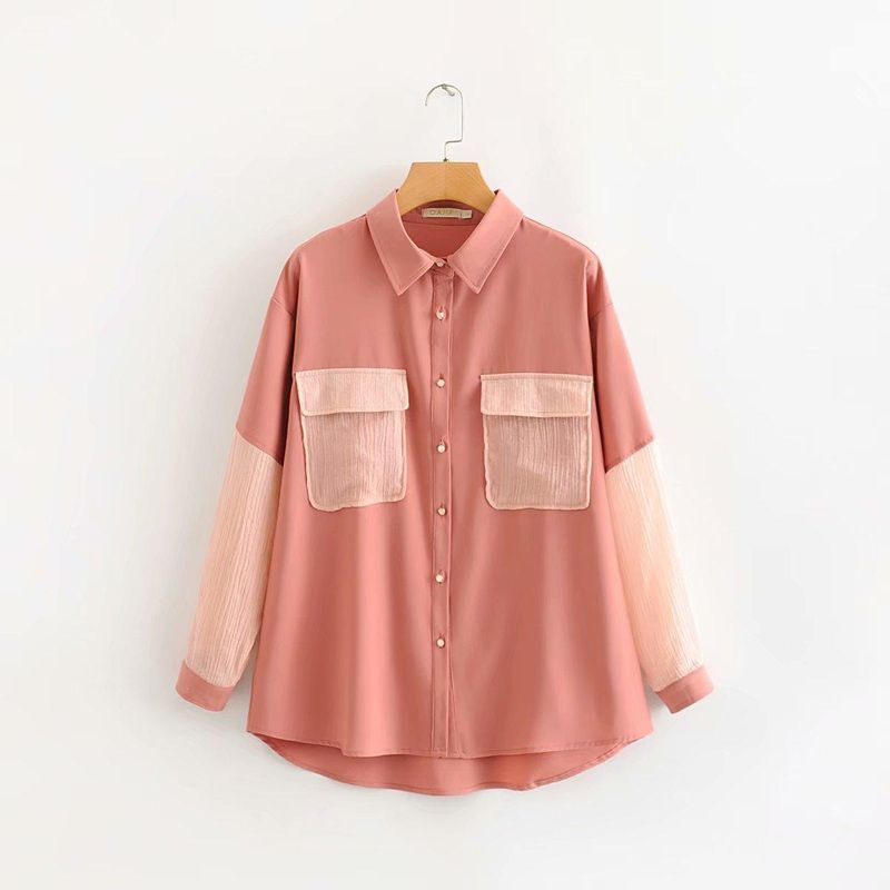 Wholesale Pink Gold Silk Pocket Shirt Shirt NHAM200201