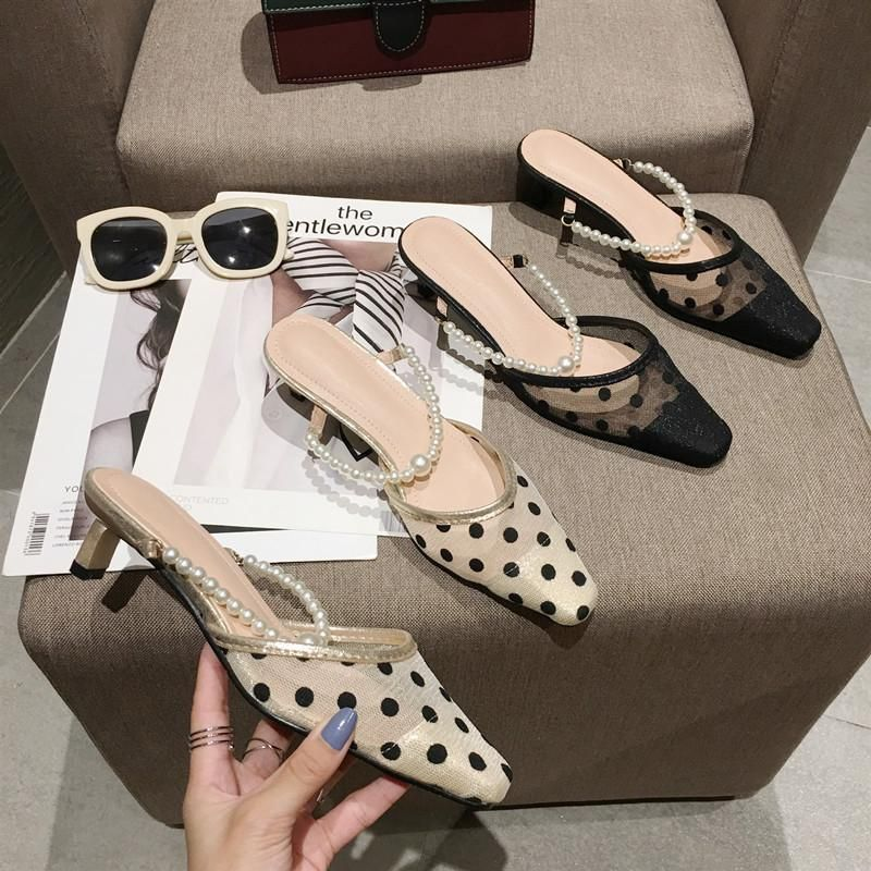 Sandals and slippers women's shoes wearing polka dot Baotou pearl square toe half slippers mid-heel small heel Mules NHCA200203