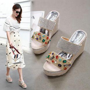 Summer Rhinestone Flip-Flops Platform Shoes Shoes High Heel Waterproof Straw Straw Sandals NHCA200212's discount tags