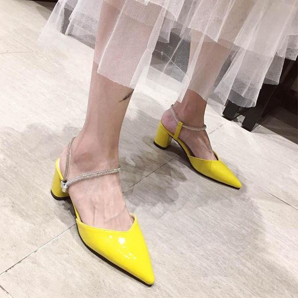 Chunky heel pointed rhinestones wear pointed women's shoes NHCA200232
