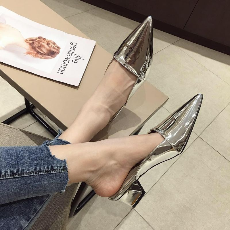 Comfortable soft leather women's outer wear new fashion Baotou half drag low-heeled metallic Mules NHCA200236