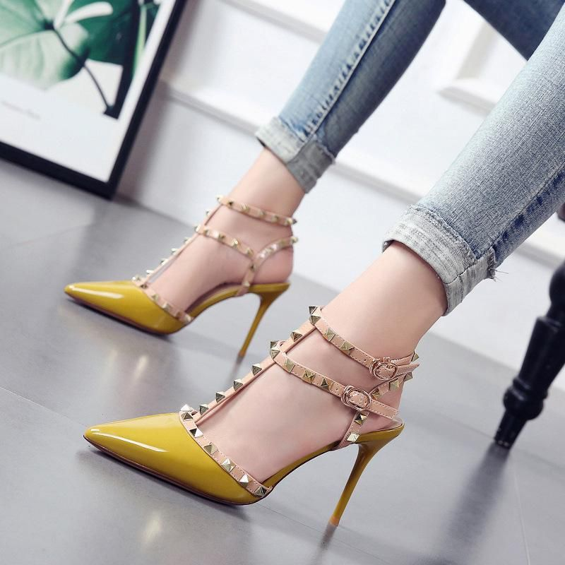 Summer new color-blocking rivet strap sandals high heel hollow patent leather candy women's shoes NHSO200247
