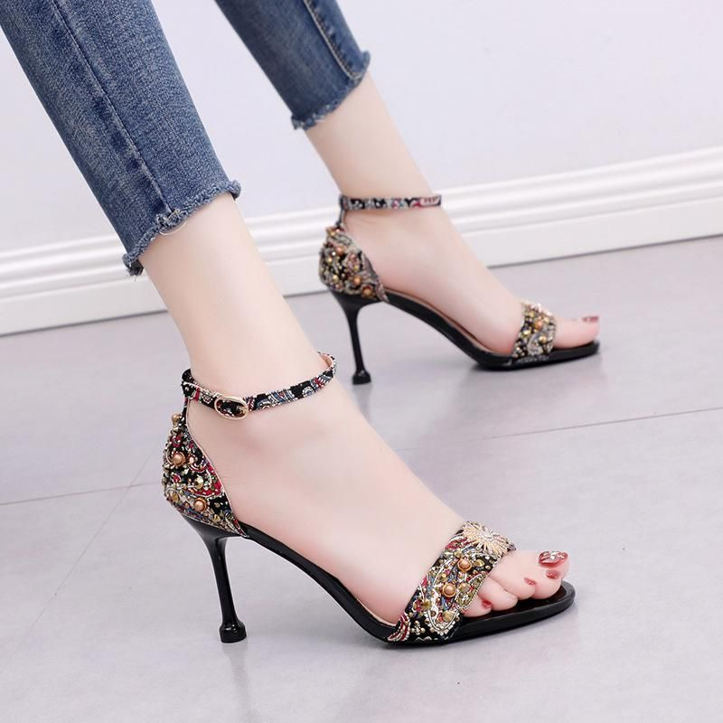 Summer new wild color matching sandals rhinestones with a word with open toe high heels women's shoes NHSO200248