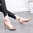 Summer New Thick Heel Open Toe Transparent Sandals Word Buckle Wild High Heels Satin NHSO200251