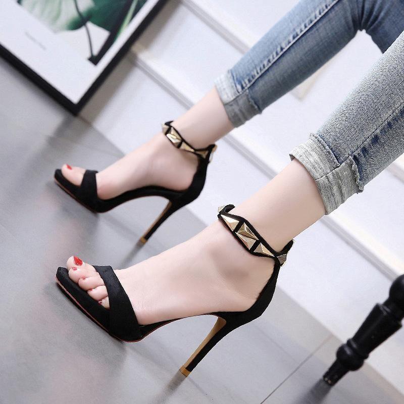 Summer new stiletto heel sandals with metal open toe suede women's shoes NHSO200255