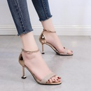 Summer new word buckle strap sandals stiletto cat and rhinestone open toe high heel womens shoes NHSO200259