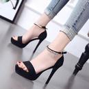 Summer New Open Toe Sandals Rhinestone Waterproof Platform Stiletto Shoes High Heels NHSO200264