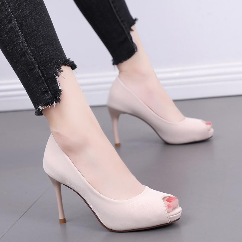 Spring and summer new fish mouth high-heeled shoes with wild waterproof platform thick soles NHSO200266