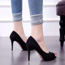 Spring and autumn new suede single shoes fish mouth stiletto heel womens shoes Korean simple wild work shoes NHSO200267
