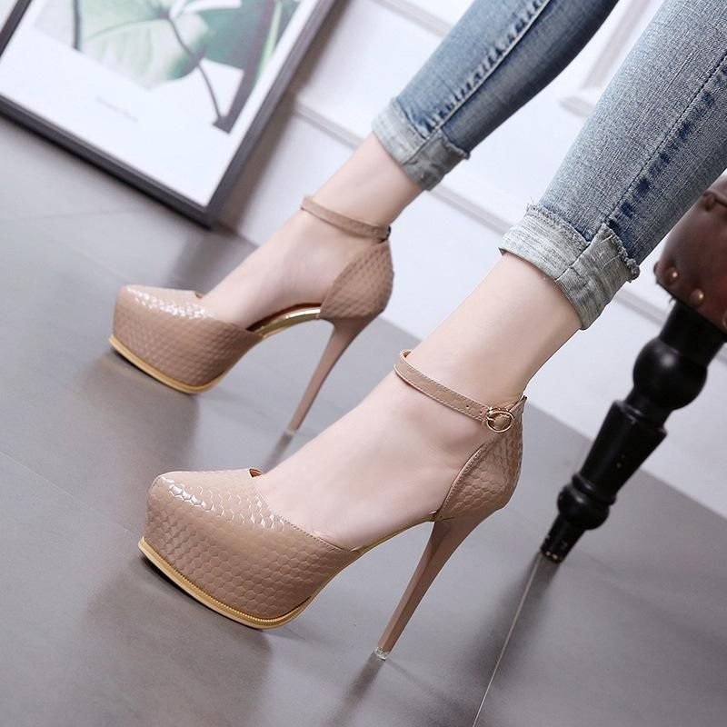 Fashion new women's shoes single buckle ultra-high heel stiletto waterproof platform single shoes wholesale NHSO200268