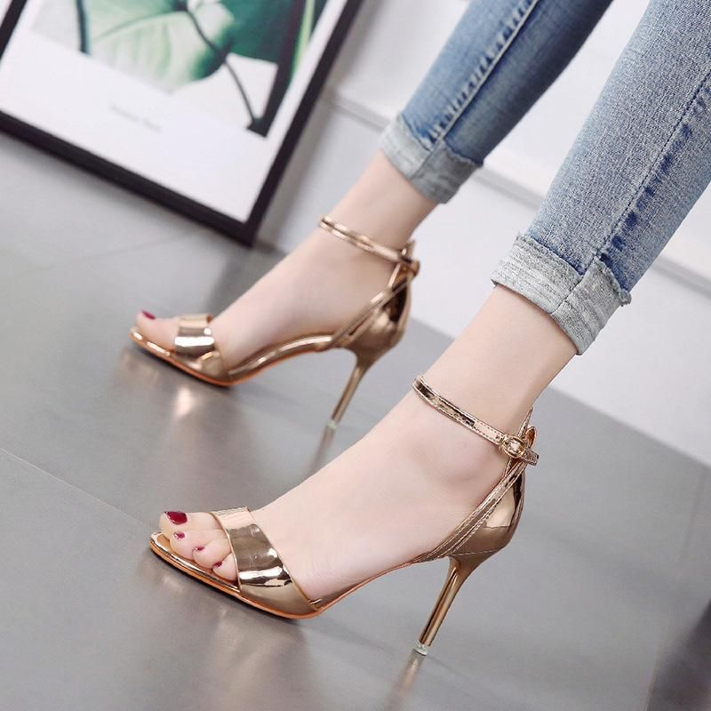 Korean new word strap sandals with stiletto open-toed women's shoes high-heeled sexy wild NHSO200269