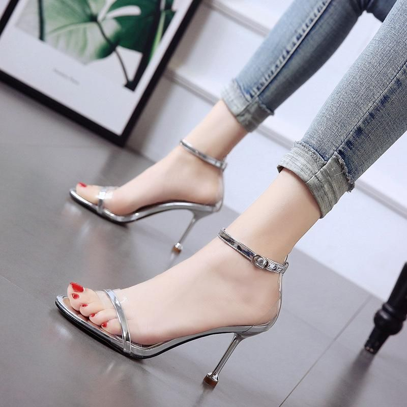 New word with open toe sandals cat heels fine heel sexy nightclub women's shoes transparent shoes NHSO200279