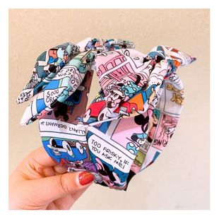Korean cartoon cute printed letter Mickey Mouse double bow hair hoop NHHD200283's discount tags
