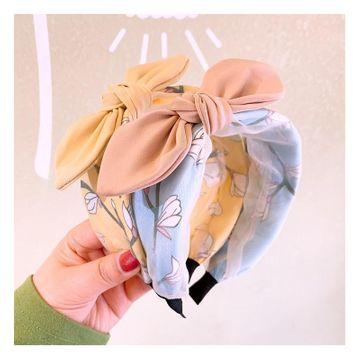 Korean new retro fashion small fresh flowers plain bow hair hoop wild card NHHD200289