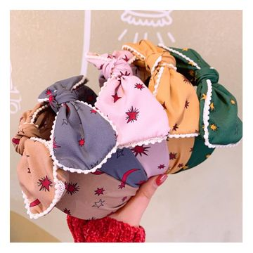 Korean fashion wild simple temperament lace lace five-pointed star wide headband hairpin card NHHD200299