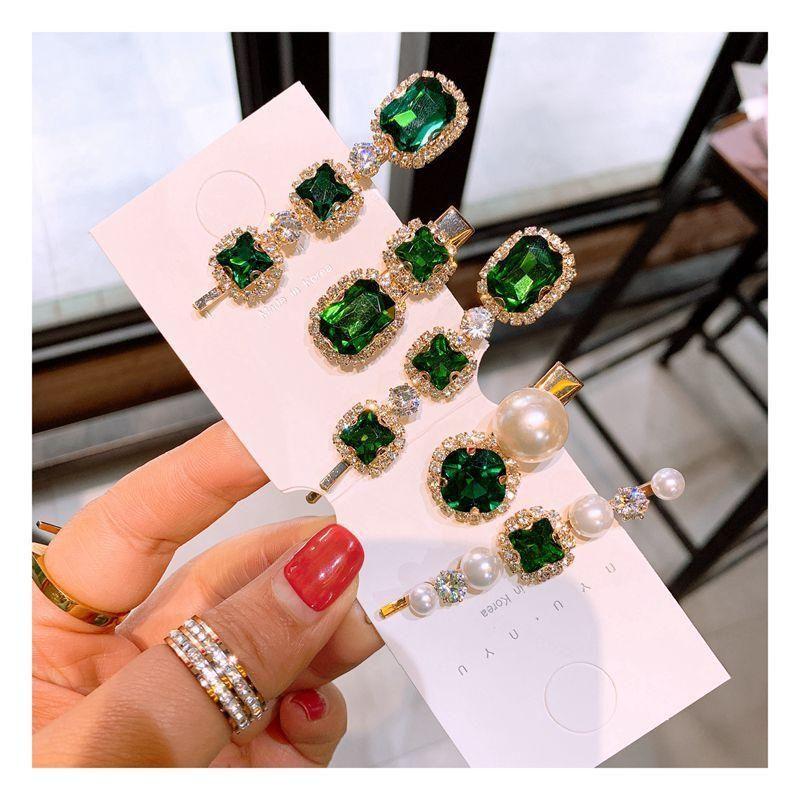 Korean retro rhinestone green series pearl word clip duckbill clip bangs clip hairpin jewelry NHHD200315