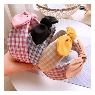 Retro Women's Plaid Color Matching Bow Wild Comfortable Hoop Card NHHD200321's discount tags