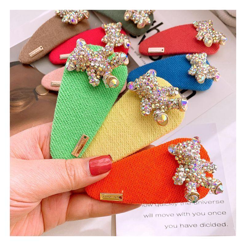 Korean candy-colored water drop full diamond bear cute flash diamond hair clip side clip jewelry hairpin NHHD200334