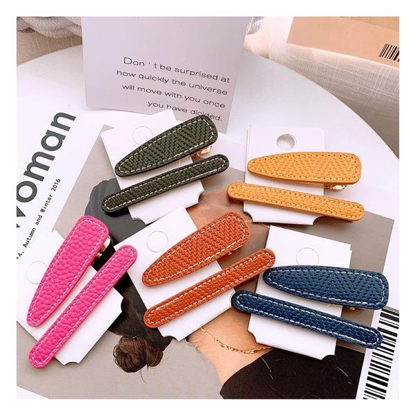Korean street shooting candy color wild leather suit side clip broken hair bangs clip wholesale NHHD200335