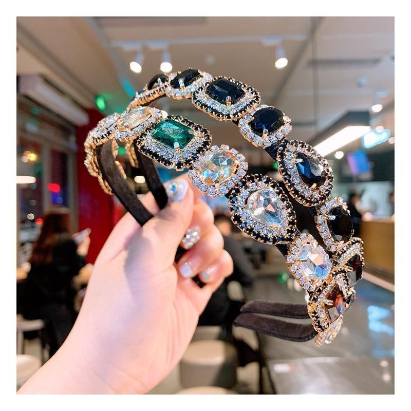 Korean Baroque style gem color diamond headband wild card accessories NHHD200337