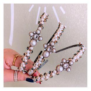 Korean retro simple pearl rhinestone cross mixed diamond hair hoop wild card accessories NHHD200338's discount tags