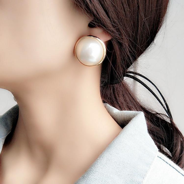 New retro large pearl earrings female Korean jewelry new earrings simple earrings NHLN200347