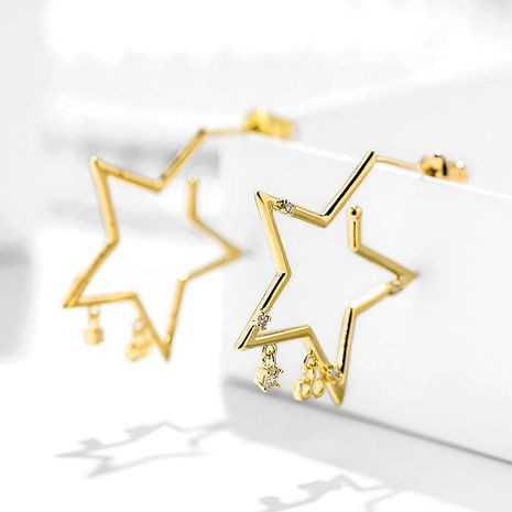 S925 Silver Needle Pentagram Exaggerated Earrings Fashion Women's Earrings Wholesale NHPP200355's discount tags