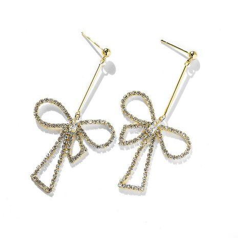 Asymmetric bow tassel earrings women's new long 925 silver pin sparkling earrings NHPP200369's discount tags