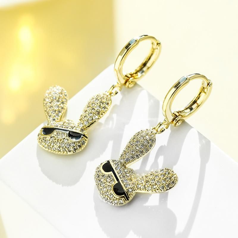 Fashion Playful Sunglasses Rabbit Wild Earrings Premium Clavicle Chain Set NHPP200371