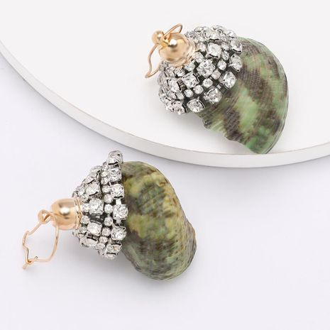 Exaggerated fashion personality rhinestone diamond conch shell earrings female summer ocean beach wind earrings NHJE200374's discount tags