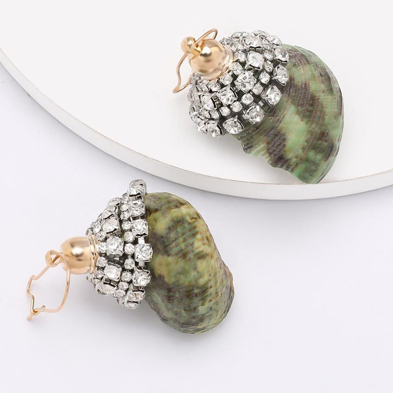Exaggerated fashion personality rhinestone diamond conch shell earrings female summer ocean beach wind earrings NHJE200374