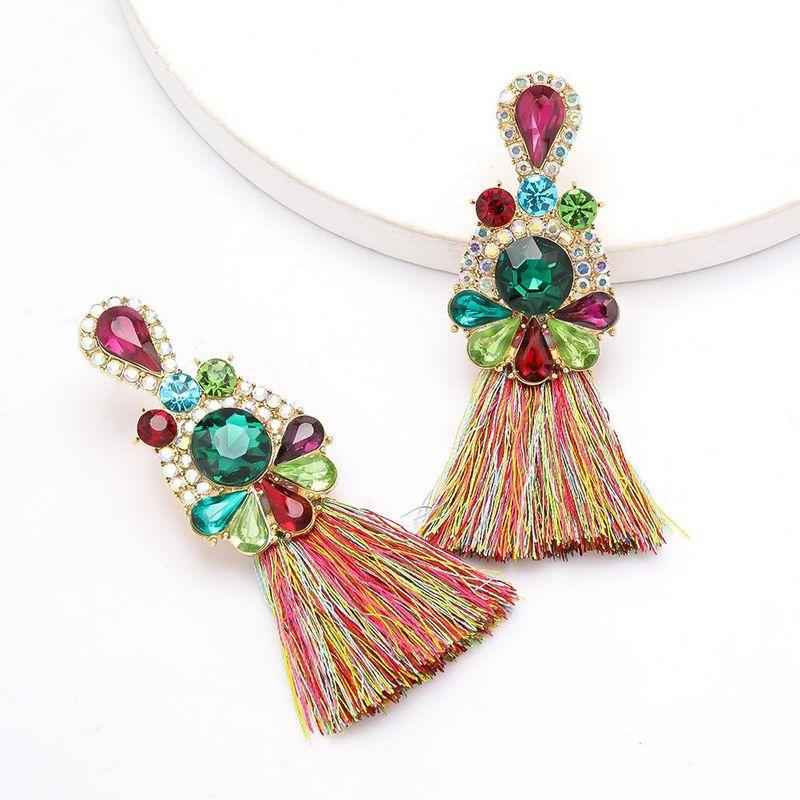 New alloy earrings with diamonds, rhinestones and diamonds, women's retro ethnic earrings NHJE200376