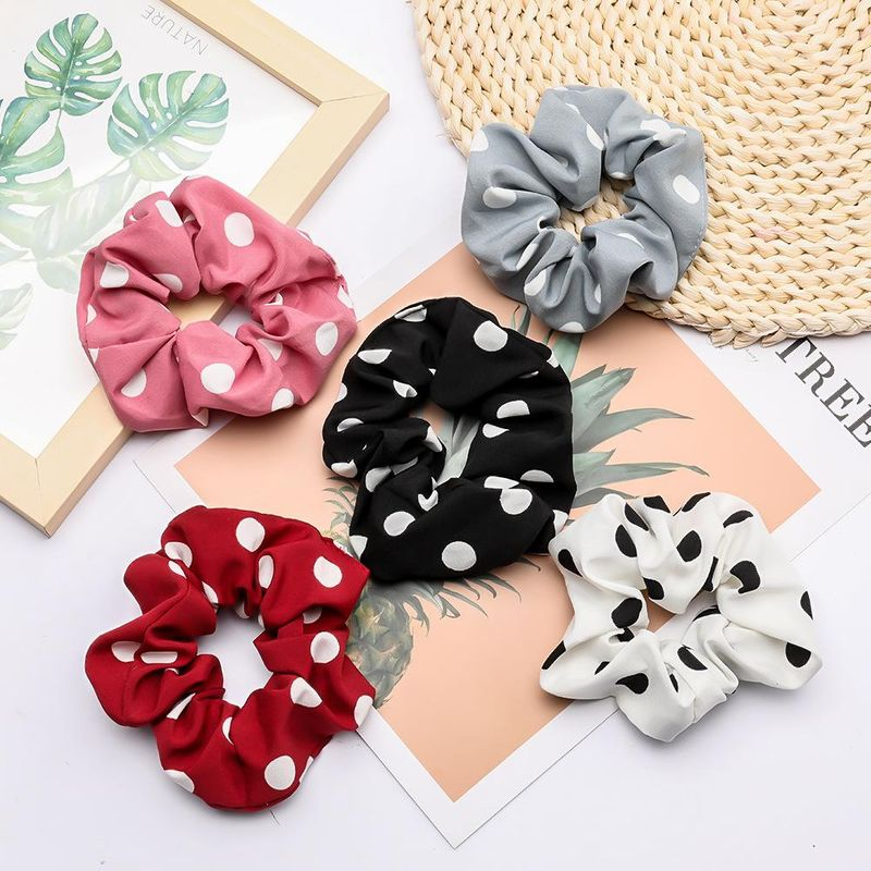 Korean fashion small fresh polka dot fabric hair rope headwear wholesale NHJE200380