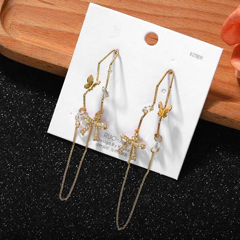 New Butterfly Chain Earring Fashion Korean Pearl Earrings NHJQ200381