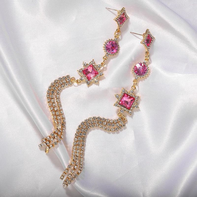 Korea exquisite crystal long fringed rhinestone earrings new silver pin earrings female NHJQ200385