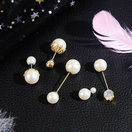 Fashion New Quality Zircon Double Head Pearl Brooch Wholesale NHJJ200388's discount tags