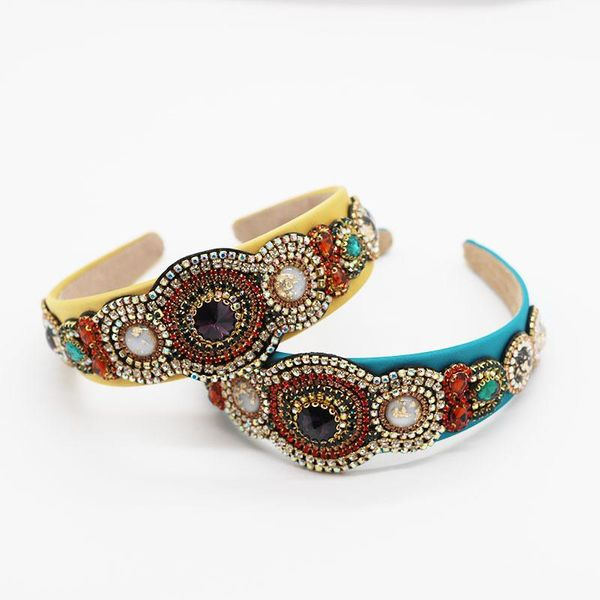 New retro colored rhinestone gem headband wide edge gold velvet ladies headband NHWJ200401