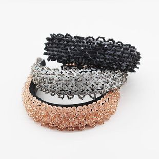 Fashion exaggerated burr tassel headband female simple and elegant wide edge hand-stitched sponge hair accessories NHWJ200402's discount tags
