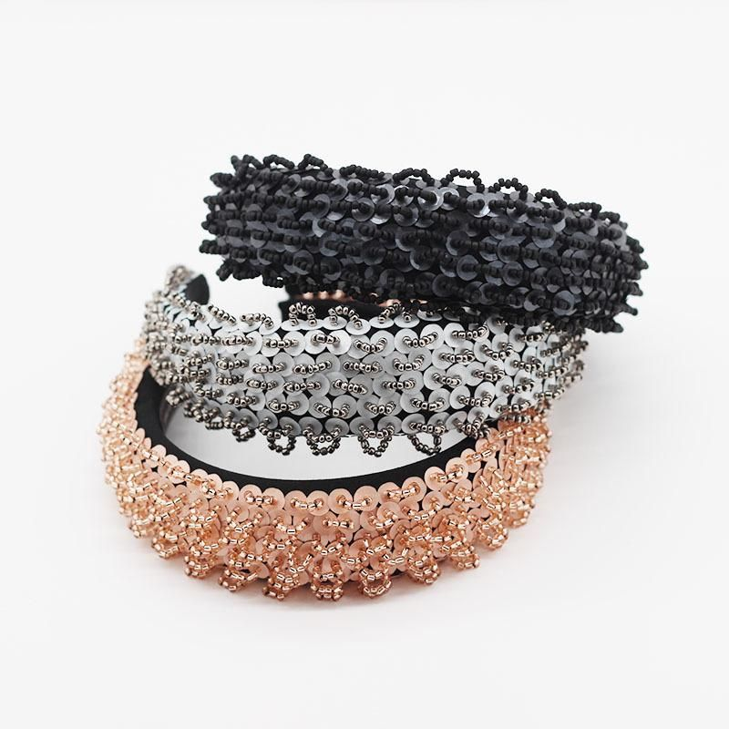 Fashion exaggerated burr tassel headband female simple and elegant wide edge hand-stitched sponge hair accessories NHWJ200402