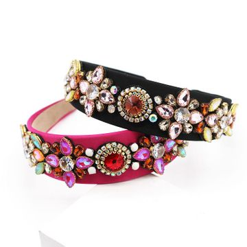 New fashion colorful hair hoop baroque court style diamond flower headband wholesale NHWJ200404