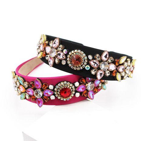Nueva moda colorido aro de pelo barroco corte estilo diamante flor diadema al por mayor NHWJ200404's discount tags