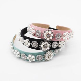 Diamante de moda barroca floral perla salvaje salvaje aro de pelo retro damas ultra flash diadema de estilo de corte de borde ancho NHWJ200406's discount tags
