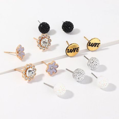 Fashion new alloy drip oil flower set Love ball earrings NHNZ200412's discount tags