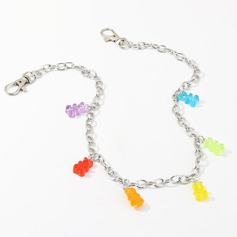 Creative pop single layer body chain female color resin bear chain NHNZ200416's discount tags