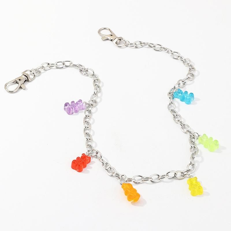 Creative pop single layer body chain female color resin bear chain NHNZ200416