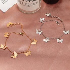 Fashion Jewelry Wholesale Single Layer Butterfly Bracelet Sweet Butterfly Pendant Bracelet NHNZ200417
