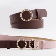 New snap belt women fashion casual decorative jeans round buckle belt NHPO200422