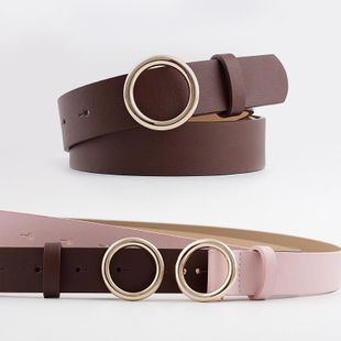 New snap belt women fashion casual decorative jeans round buckle belt NHPO200422's discount tags